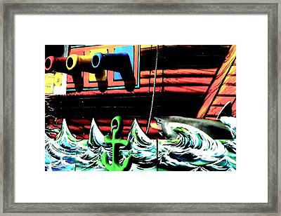 Shark And Pirate Ship Pop Art Posterized Photo Framed Print by Marianne Dow