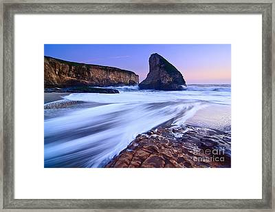 Shark Fin Tide - Santa Cruz California Framed Print