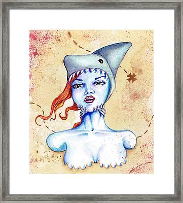 Shark Hat Framed Print by Christopher Moonlight