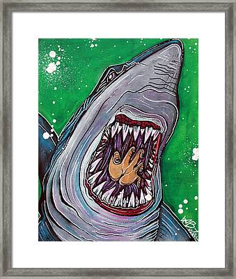 Shark Kill Zone Framed Print by Laura Barbosa