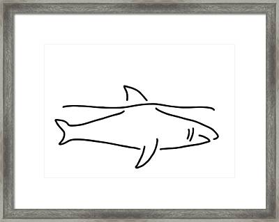 Shark Shark Fish Fin Sea Framed Print
