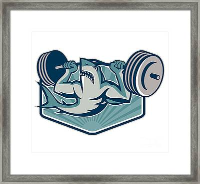 Shark Weightlifter Lifting Weights Mascot Framed Print by Aloysius Patrimonio