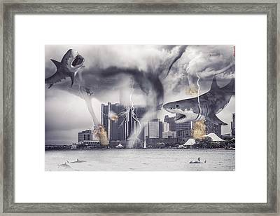 Framed Print featuring the photograph Sharknado Detroit by Nicholas  Grunas