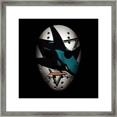 Sharks Goalie Mask Framed Print