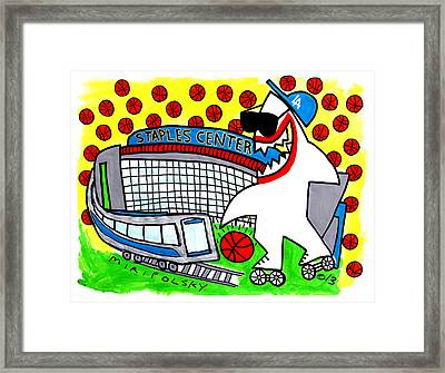 Sharks In The City - Staples Center Framed Print by Andre Miripolsky