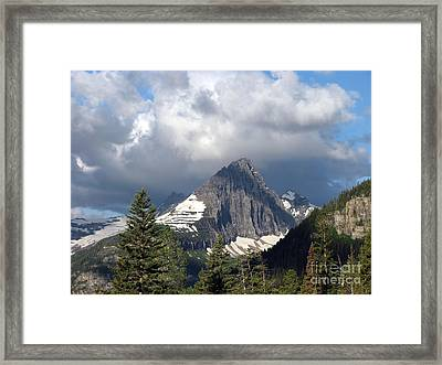 Sharp Peak Into Clouds Framed Print