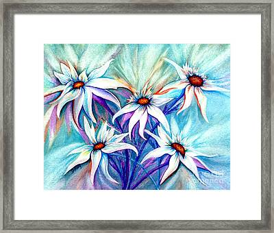 Shasta Daisy Dance Framed Print by Janine Riley