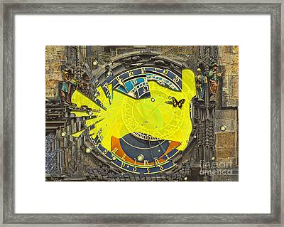 Shattered - Prague Astronomical Clock  Framed Print by Liane Wright
