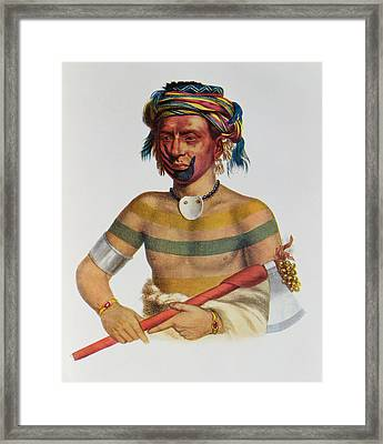 Shau-hau-napo-tinia, An Iowa Chief, 1837, Illustration From The Indian Tribes Of North America Framed Print
