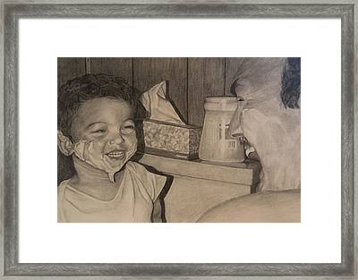 Shaving With Pops Framed Print by Larry Corio
