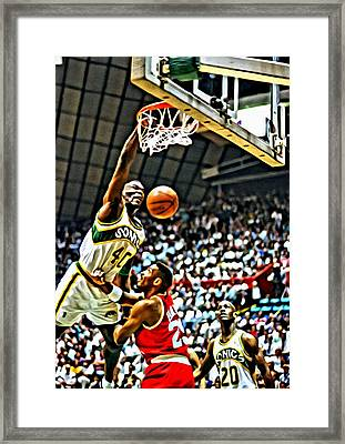 Shawn Kemp Painting Framed Print by Florian Rodarte