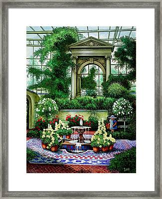 Framed Print featuring the painting Shaw's Gardens Mediteranian House by Michael Frank