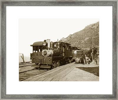 Framed Print featuring the photograph Shay No. 498 At The Summit Of Mt. Tamalpais Marin Co California Circa 1902 by California Views Mr Pat Hathaway Archives
