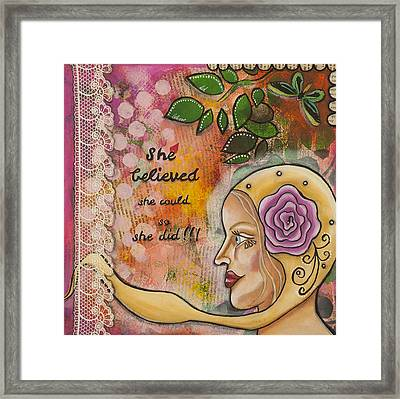 She Believed She Could So She Did Inspirational Mixed Media Folk Art Framed Print