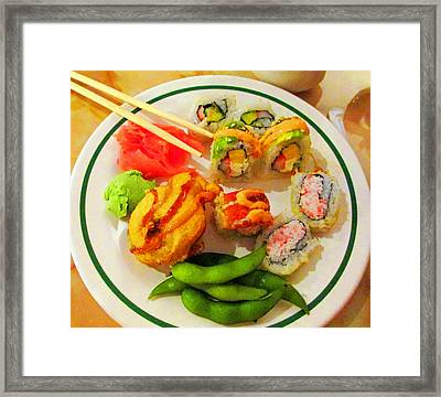 She Craves Sushi Framed Print by Randall Weidner