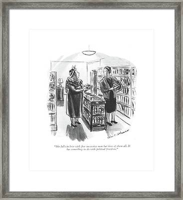 She Falls In Love With ?ve Successive Men But Framed Print by Helen E. Hokinson