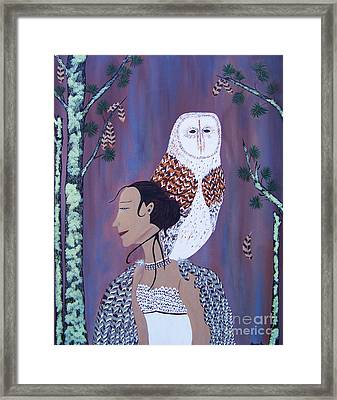 She Flies With The Owls Framed Print