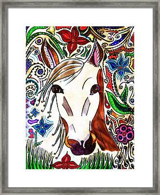 She Grazes Where Flowers Grow - Horse Framed Print