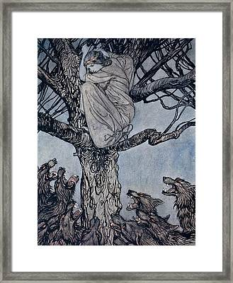 She Looked With Angry Woe At The Straining And Snarling Horde Below Illustration From Irish Fairy  Framed Print by Arthur Rackham