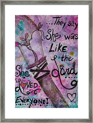 She Loved Everyone Framed Print by Jacqueline Athmann