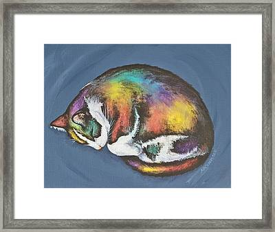 She Purrs In Color Framed Print by Beth Clark-McDonal