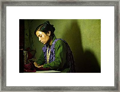 She Sews Into The Night Framed Print by Valerie Rosen