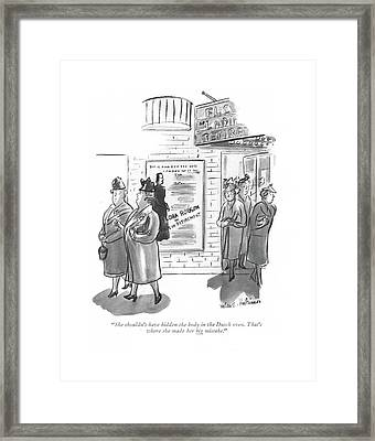 She Shouldn't Have Hidden The Body In The Dutch Framed Print by Helen E. Hokinson