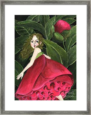 Framed Print featuring the painting She Stole A Peony To Wear by Jingfen Hwu