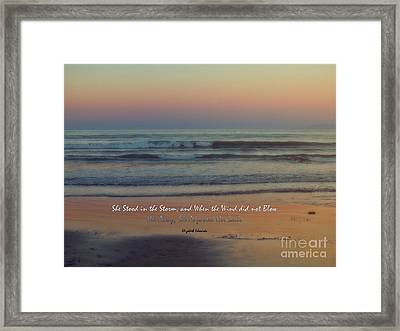 She Stood In The Storm Framed Print by Karen Lewis