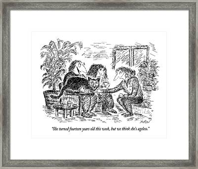 She Turned Fourteen Years Old This Week Framed Print