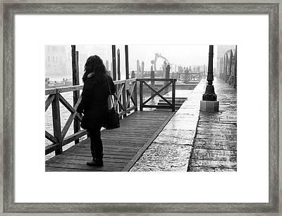She Waits In Venice Framed Print by John Rizzuto