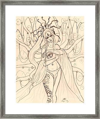 She Walked Through The Ruins Sketch Framed Print by Coriander  Shea