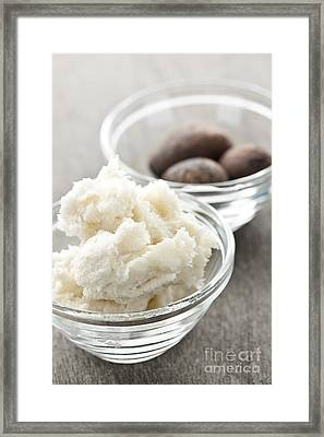 Shea Butter And Nuts In Bowls Framed Print by Elena Elisseeva