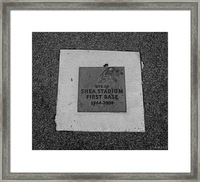 Shea Stadium First Base In Black And White Framed Print by Rob Hans