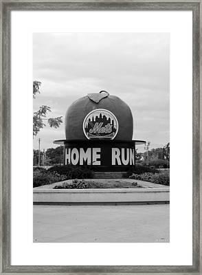 Shea Stadium Home Run Apple In Black And White Framed Print