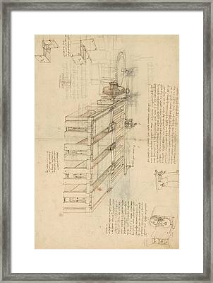 Shearing Machine With Detailed Captions Explaining Its Working From Atlantic Codex Framed Print by Leonardo Da Vinci