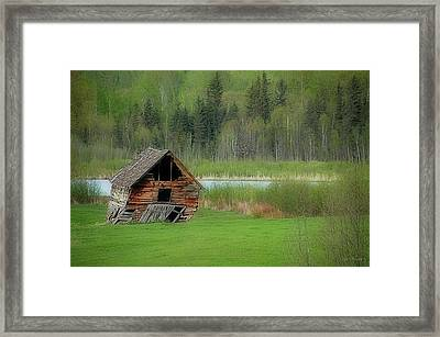 Shed By The Lake Framed Print