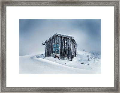 Shed In The Blizzard Framed Print