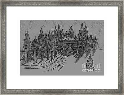 Shed In The Snow Framed Print by Neil Stuart Coffey