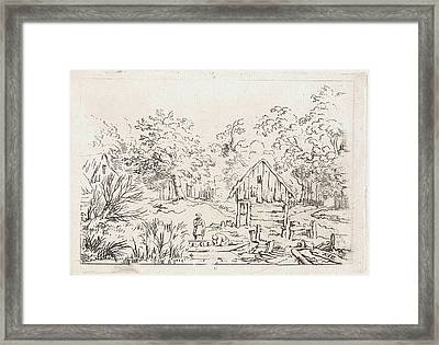 Shed Near The Water, Print Maker Anonymous Framed Print