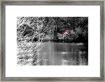 Framed Print featuring the photograph Shed On The Lake by Christopher Rowlands
