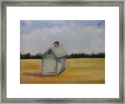 Shed On Yellow Field Framed Print by Iris Nazario Dziadul