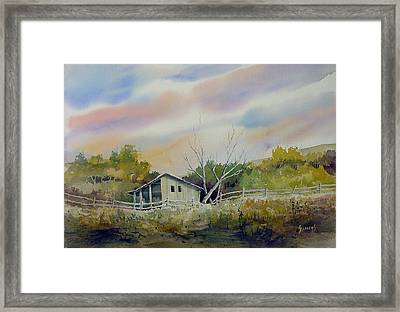 Shed With A Rail Fence Framed Print