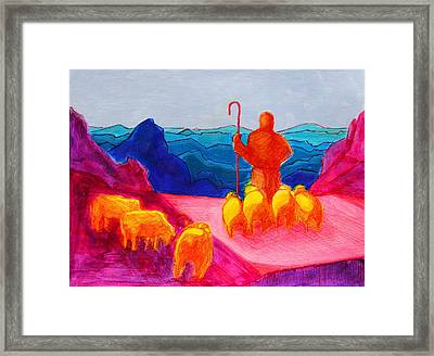 Sheep And Shepherd Painting Bertram Poole Framed Print