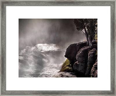 Sheep Falls Mist Framed Print by Leland D Howard