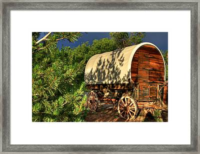 Sheep Herder's Wagon Framed Print by Donna Kennedy