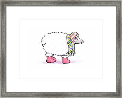 Sheep In A Scarf Framed Print by Christy Beckwith