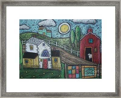 Sheep In Barn Framed Print