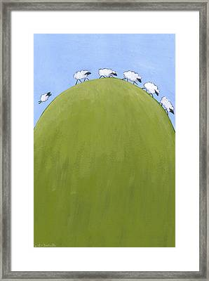 Whimsical Sheep Art Framed Print by Christy Beckwith
