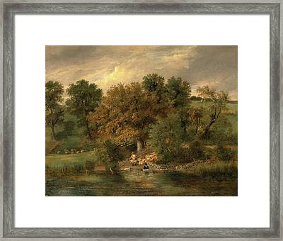 Sheep Washing At Postwick Grove, Norwich Framed Print